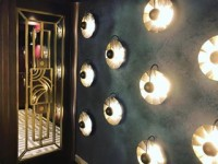 """Talk about making an entrance.. our recently completed Leicester Square hotel lobby in """"blue steel"""" pitted Hydro (feat. the most amazing Art Deco lighting!) #viero #vierouk #hoteldesign #architecture #hotelinteriors #surfacedesign #polishedplaster #texturedwall #featurelighting #artdeco #navyandgold #interiordesign #luxuryinteriors #londonhotel #leicestersquare #london"""
