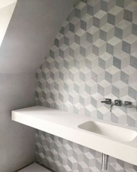 We love this bathroom design by #interiordesigner Lia Israel. Creatively executed by our approved applicator Jo, combining tonal geometric stencilled micro cement design and subtle plaster walls ???????? #greydecor #allgrey #bathroomdesign #bathroominspo #viero #vierouk #geometric #interiordesign #interiorinspo #luxuryinteriors #luxurybathroom #renovation #polishedplaster #texturedwall #decorativeplaster #surfacedesign #microcement #stencildesign #stencilled