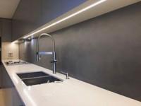 Kitchen showroom vibes ???? our water resistant Hydro finish in Farrow & Ball's Manor House Grey #viero #vierouk #chic #kitchen #showroom #interiordesign #specialistdesign #bespokeinteriors #greyinteriors #farrowandball #texturedwalls #polishedplaster #surfacedesign