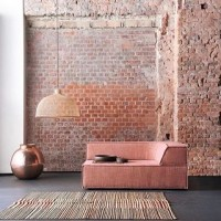 Regram @rockettstgeorge - we love the distressed ombré effect on this brickwork, a stylish nod to our favourite colour trend of the year #dustypink #dustyrose #interiordesign #interiordesigntrends #millenialpink #exposedbrick #pinkinteriors #distressedtexture #ombrewalls #luxuryinteriors #interiorinspiration